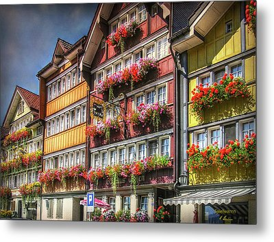 Metal Print featuring the photograph Row Of Swiss Houses by Hanny Heim