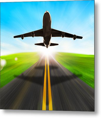 Road And Plane Metal Print by Setsiri Silapasuwanchai