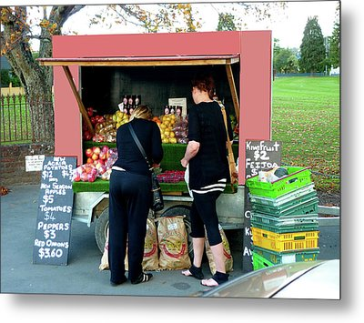 Roadside Fruit And Veg Metal Print by Kenneth William Caleno