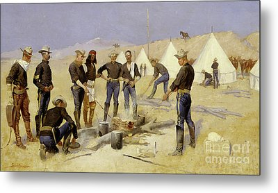Roasting The Christmas Beef In A Cavalry Camp, 1892 Metal Print by Frederic Remington