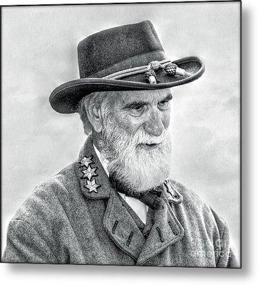 Robert E Lee Confederate General Portrait Metal Print by Randy Steele
