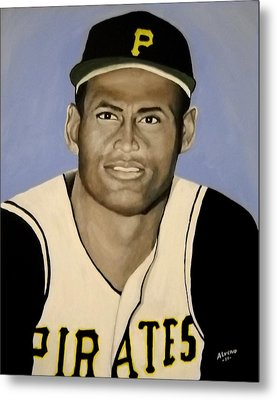 Metal Print featuring the painting Roberto Clemente by Edwin Alverio