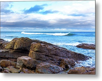 Metal Print featuring the photograph Rock And Wave by Perry Webster