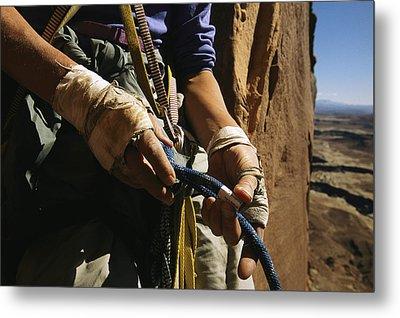 Rock Climber Becky Halls Wrapped Hands Metal Print by Bill Hatcher