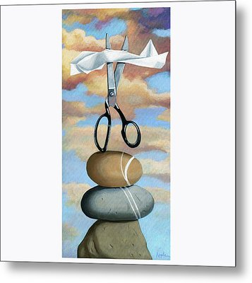 Metal Print featuring the painting Rock, Paper, Scissors by Linda Apple