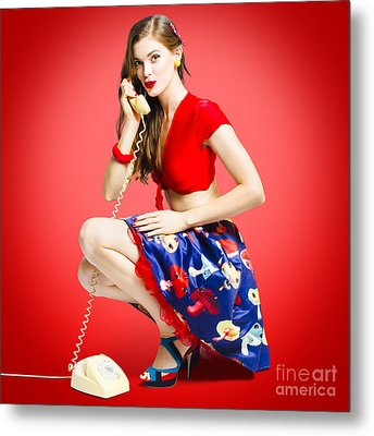 Rockabilly Gal Talking The Talk On Old Telephone Metal Print by Jorgo Photography - Wall Art Gallery