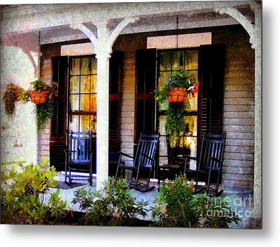 Rocking Chairs On A Country Porch  Metal Print by Janine Riley