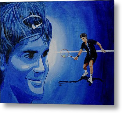 Roger Federer Metal Print by Quwatha Valentine