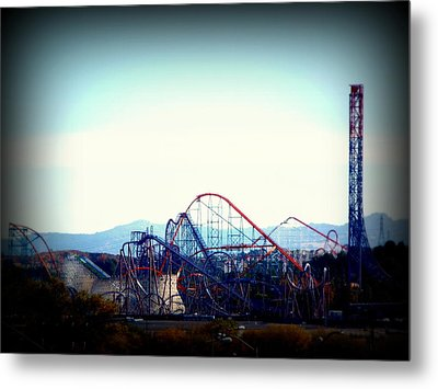 Roller Coasters At Twilight Metal Print