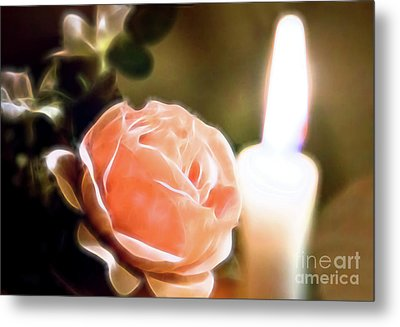 Metal Print featuring the digital art Romance In A Peach Rose by Linda Phelps