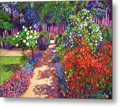 Romantic Garden Walk Metal Print by David Lloyd Glover