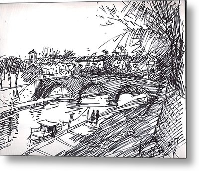 Bridge At Isola Tiberina Rome Sketch Metal Print