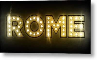 Rome In Lights Metal Print by Michael Tompsett