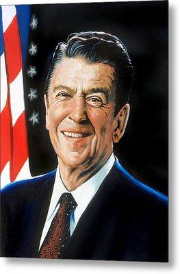 Ronald Reagan Portrait Metal Print by Robert Korhonen