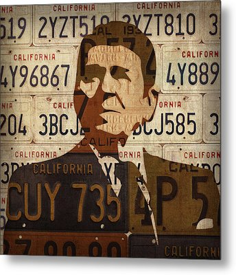 Ronald Reagan Presidential Portrait Made Using Vintage California License Plates Metal Print by Design Turnpike