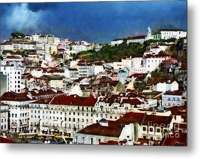 Metal Print featuring the photograph Roofs Of Lisbon by Dariusz Gudowicz