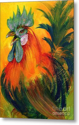 Rooster Of Another Color Metal Print by Summer Celeste
