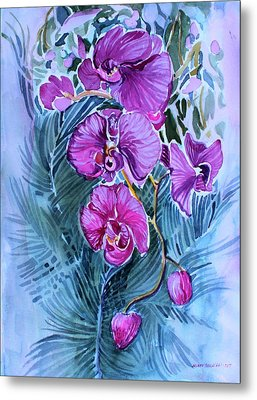 Metal Print featuring the painting Rose Orchids by Mindy Newman