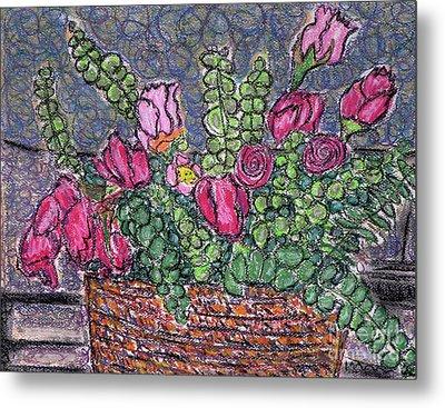 Roses And Eucalyptus In Basket Metal Print by Gerhardt Isringhaus