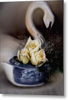 Metal Print featuring the painting roses for Susan by Bonnie Willis