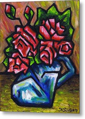 Roses In Blue Vase Metal Print by Kamil Swiatek