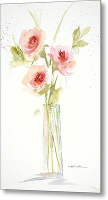 Roses In Glass Vase Metal Print by Sandra Strohschein