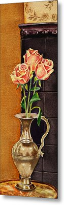 Roses In The Metal Vase Metal Print by Irina Sztukowski