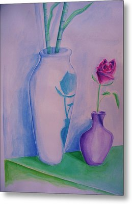 Metal Print featuring the painting Roses  In Vase by Eric  Schiabor