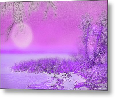 Rosy Hued Moonlit Lake - Boulder County Colorado Metal Print