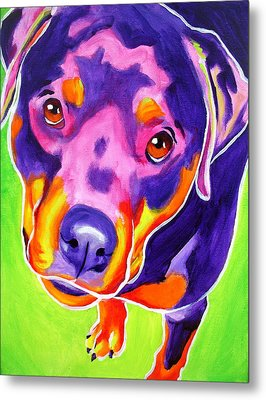 Rottweiler - Summer Puppy Love Metal Print by Alicia VanNoy Call