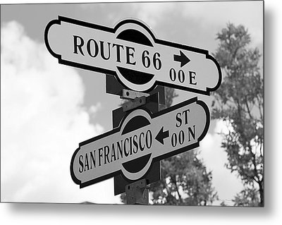 Route 66 Street Sign Black And White Metal Print by Phyllis Denton