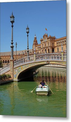 Row Boating In Seville Metal Print by Carlos Caetano
