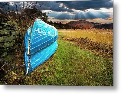 Row Boats In Waiting Metal Print by Meirion Matthias