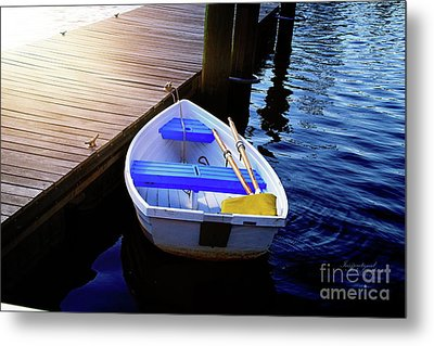 Rowboat At Sunset Metal Print by Inspirational Photo Creations Audrey Woods