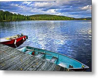 Rowboats On Lake At Dusk Metal Print by Elena Elisseeva