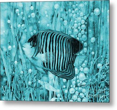 Royal Angelfish On Blue Metal Print