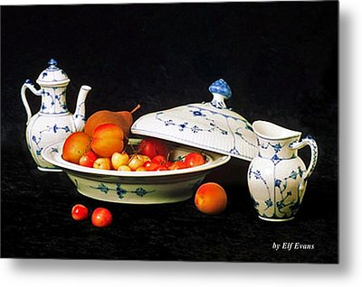 Metal Print featuring the photograph Royal Copenhagen And Fruits by Elf Evans
