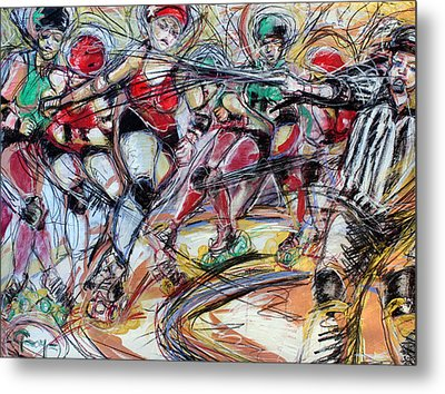 Rubber City Roller Girls Metal Print by Terry Brown