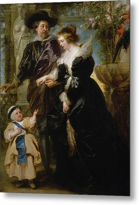 Rubens His Wife Helena Fourment And Their Son Frans Metal Print by Peter Paul Rubens