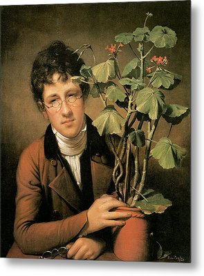 Rubens Peale With A Geranium Metal Print by Rembrandt Peale