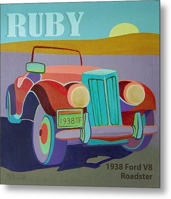 Ruby Ford Roadster Metal Print