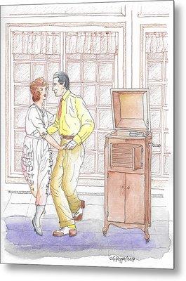 Rudolph Valentino Teaching The Tango To Actress Alice Terry, 1921 Metal Print