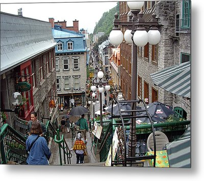 Metal Print featuring the photograph rue du Petit Champlain by John Schneider