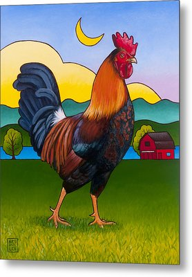 Rufus The Rooster Metal Print by Stacey Neumiller