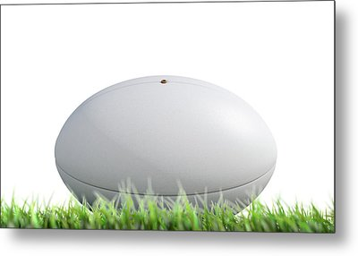 Rugby Ball Resting On Grass Metal Print by Allan Swart