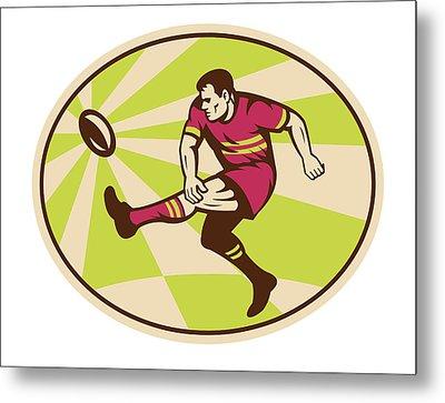 Rugby Player Kicking The Ball Retro Metal Print by Aloysius Patrimonio