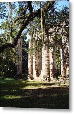 Ruins Of The Old Sheldon Church Metal Print by Richard Marcus