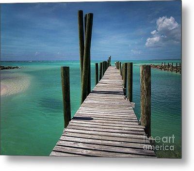Rum Cay Marina Jetty In Bahamas Metal Print by Jola Martysz