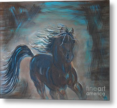 Metal Print featuring the painting Run Horse Run by Leslie Allen