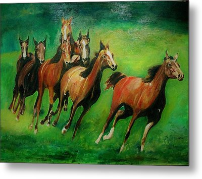 Running Free Metal Print by Khalid Saeed
